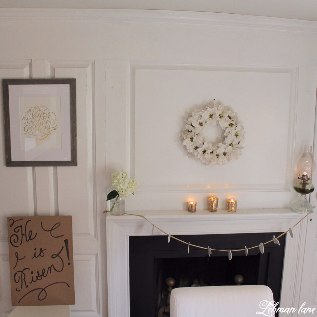 Check out my simple Easter table decorated for Easter brunch. dining room fireplace