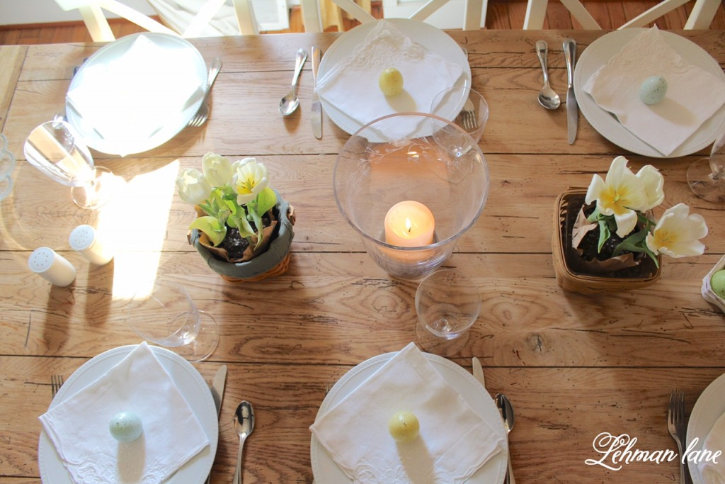 Check out my simple Easter table decorated for Easter brunch