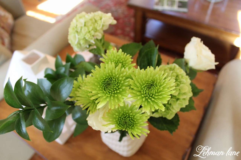 I am sharing my green St. Patrick's day tour with many of my blogging friends! Come check out how I decorated my house accented by shamrocks and green and white flowers
