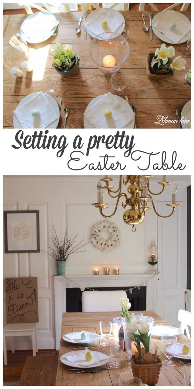 Sharing how we set our pretty Easter Table #easter #tablescape http://lehmanlane.net