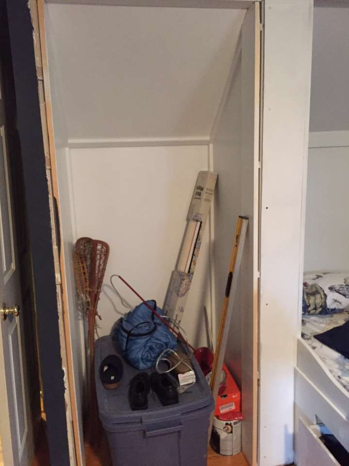 To maximize the floor space in our son's bedroom we added a built in by stealing some room from his double door closet.