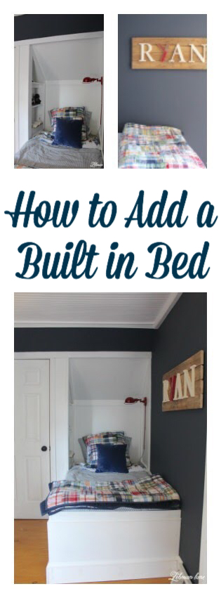 A built in bed is a fabulous way to add more floor space to a narrow or small bedroom! See how we created ours. DIY