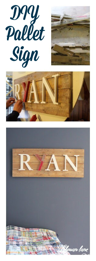 I created this pallet sign with 1/2 a pallet, some extra letters and it took me less than 1 hour!