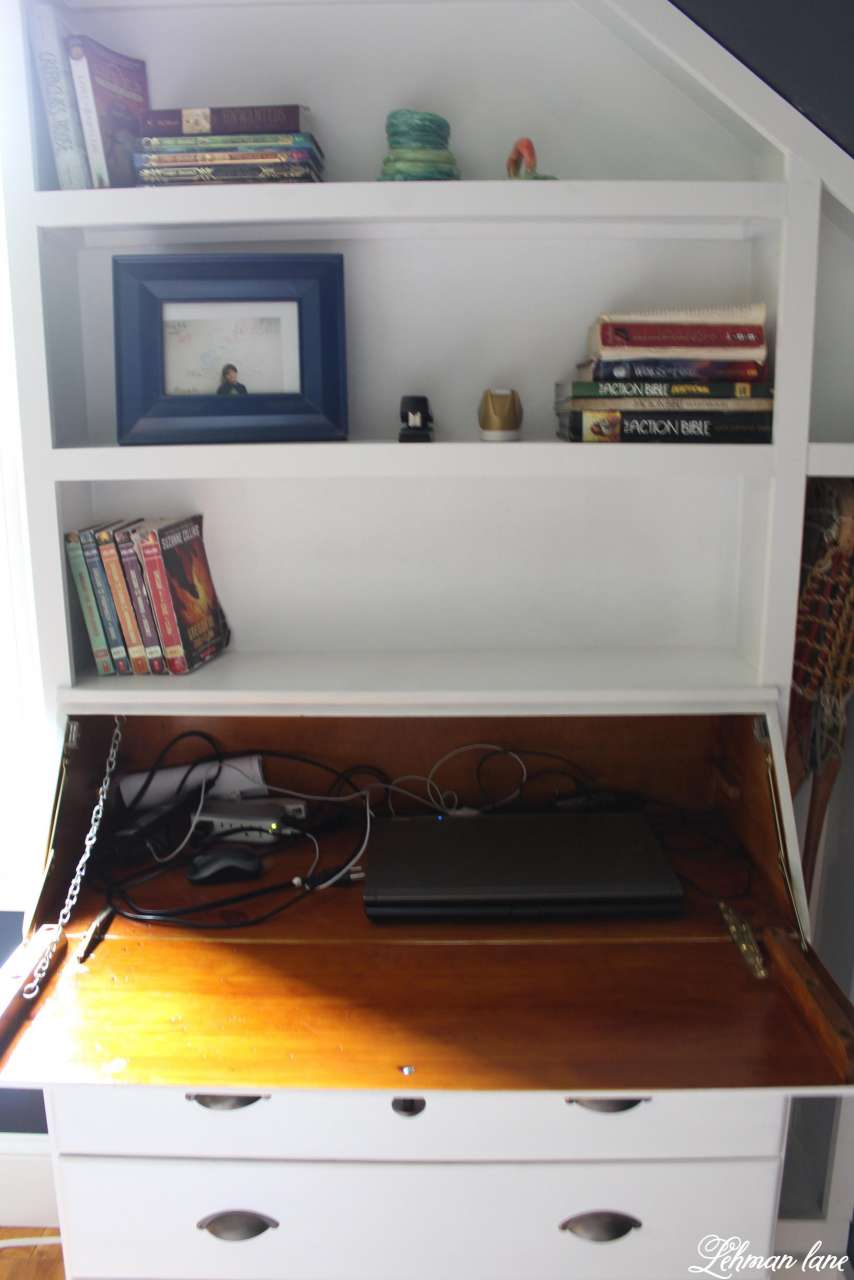 We turned an old beat up secretary into a built in dresser