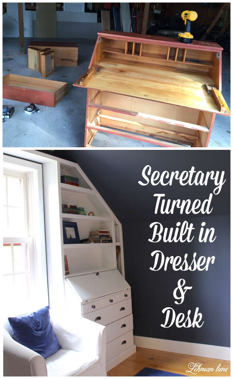 If you are struggling to find room for a dresser and desk? We transformed a thrift store secretary into a built in dresser and desk for our son's room. Benjamin Moore Hale Navy, boys bedroom