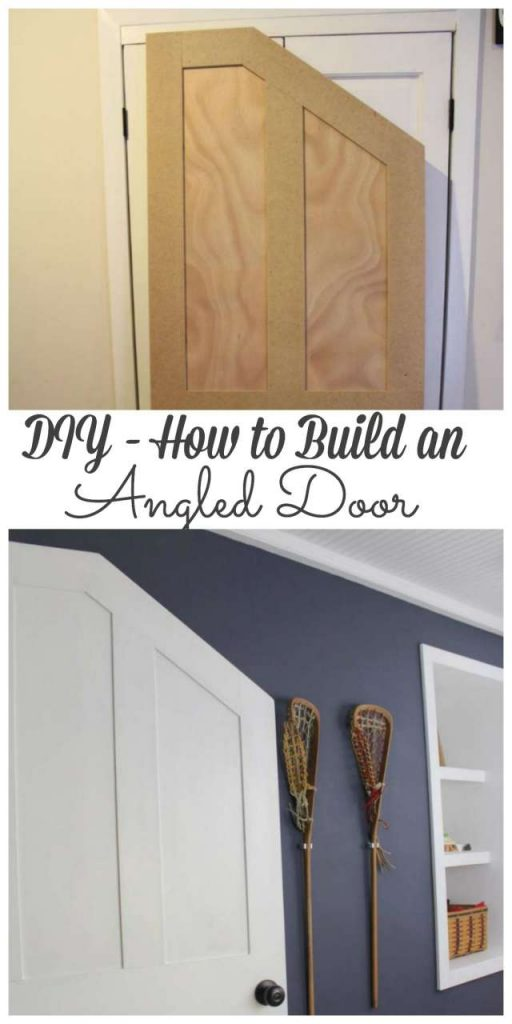 Our boys bedroom had no door and a quirky angled doorway so we created an angled door to fit perfectly. #angleddoor #door #diy http://lehmanlane.net