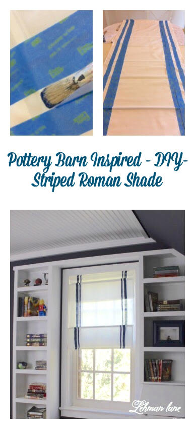 I created a Pottery Barn Inspired Striped DIY Roman Shade for only $15! No sewing skills required