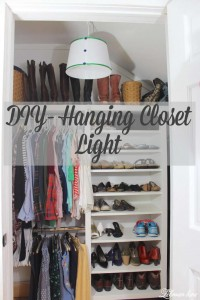 Looking for a cheap easy way to add light to a dark closet? I created this DIY Hanging lamp in less than a 1/2 hour very inexpensively!