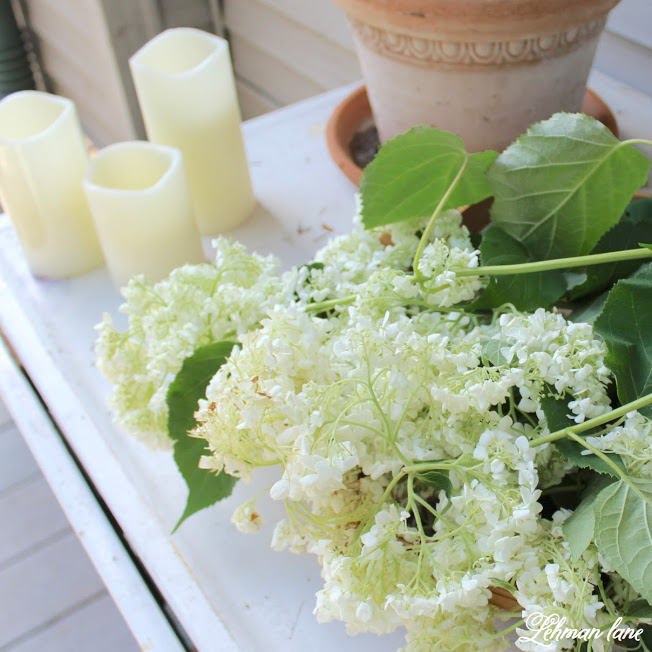 Summer Garden Tour & Outdoor Spaces Blog Hop- hydrangeas candles