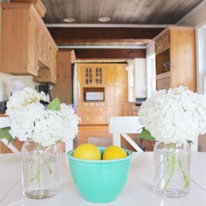 farmhouse summer tour - kitchen with ceiling beams