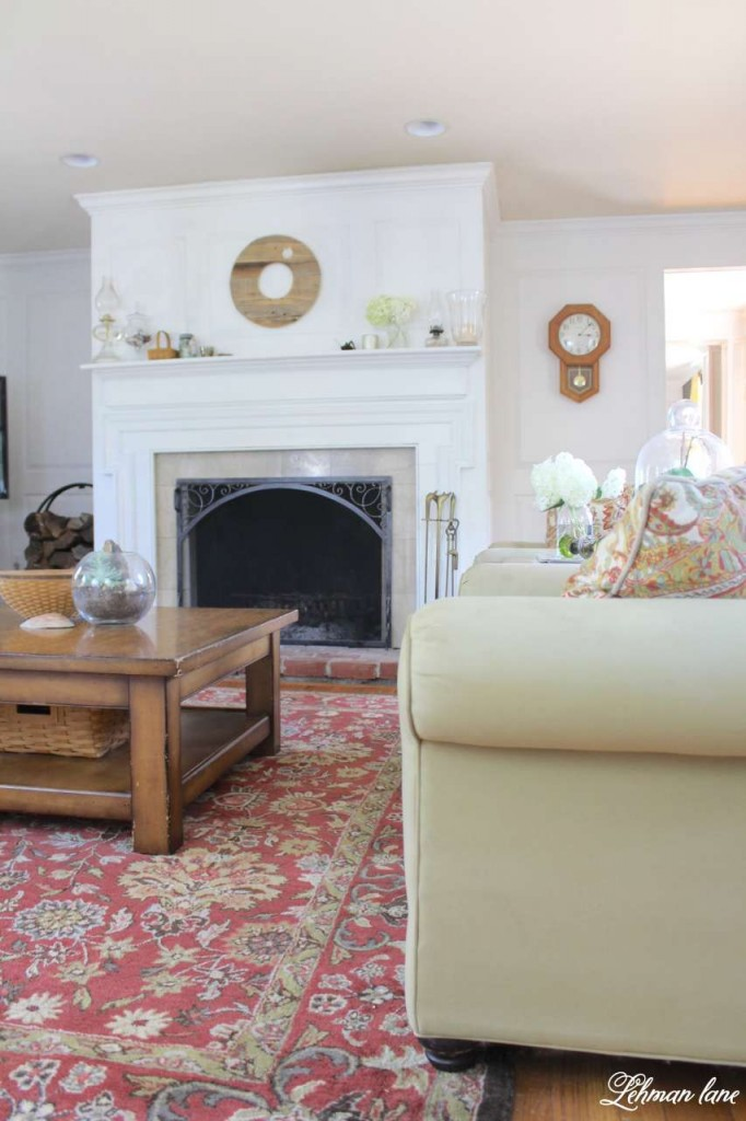 farmhouse summer tour - living room mantel