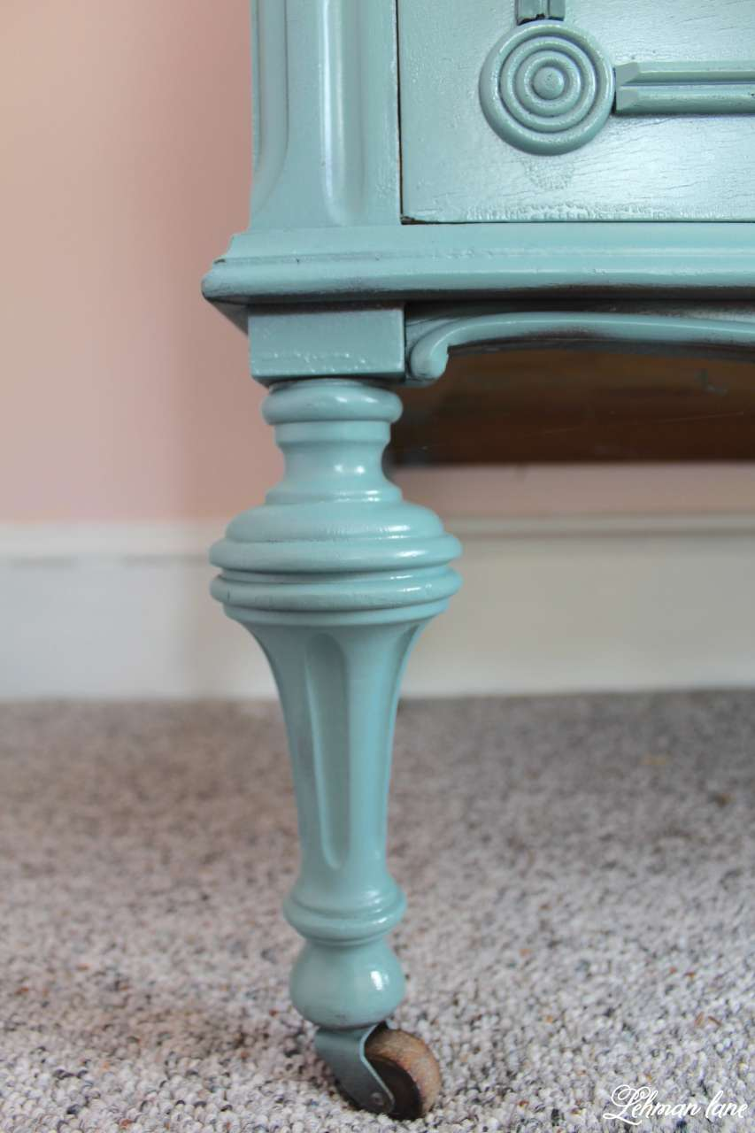 Closeup leg - antique farmhouse dresser redo