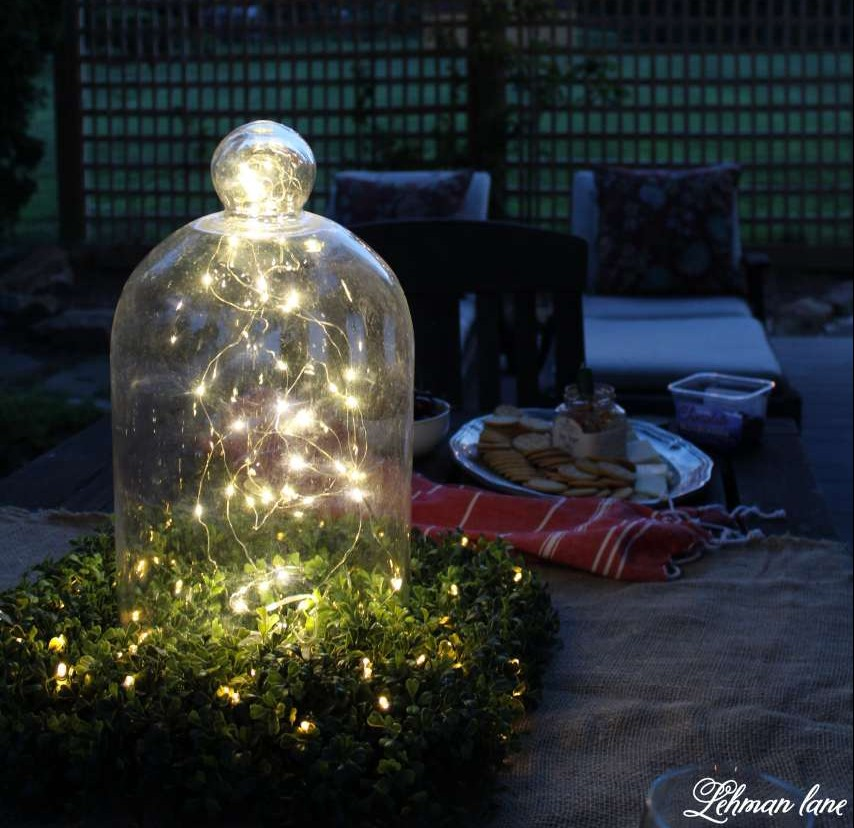 Summer Garden Party on the deck with Balsam HIll - glass cloche - fairy lights - boxwood square wreath