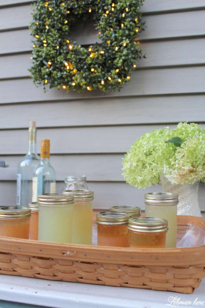 Summer Garden Party on the deck with Balsam Hill - square boxwood wreath - drink station - ball jars