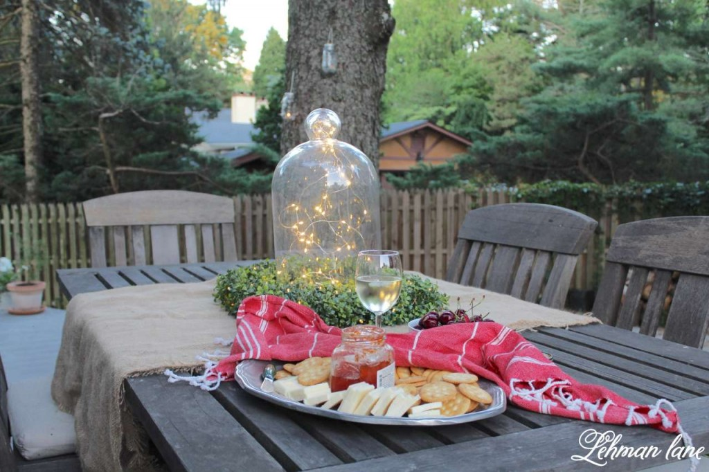 Summer Garden Party on the deck with Balsam Hill - glass cloche with fairy string lights - wine and cheese