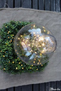 Summer garden Party on the deck with Balsam Hill glass cloche - fairy lights- square wreath #ad