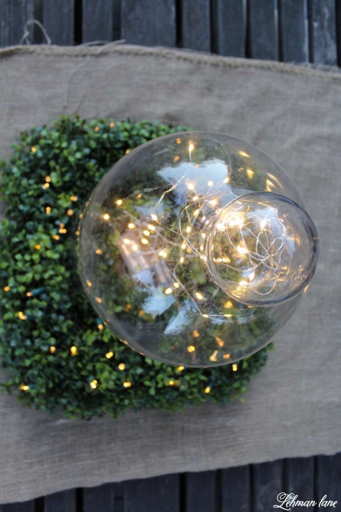 Summer garden Party on the deck with Balsam Hill glass cloche - fairy lights- burlap - square boxwood wreath