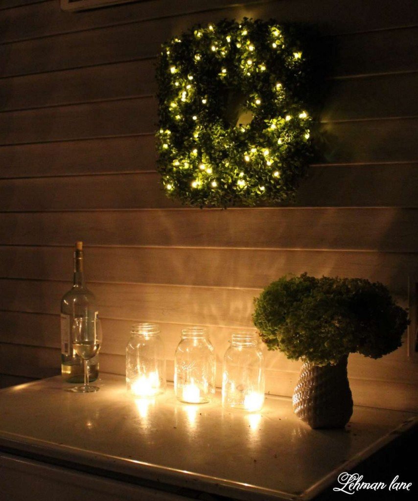 balsam-hill-light-up-the-night-summer-housewalk-2016 - summer garden party on the deck - square boxwood wreath