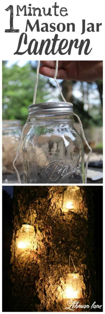 Learn how to make a simple DIY mason / ball jar lantern in under a minute using supplies you already have on home. Perfect for a night summer party! #masonjarcrafts #masonjars http://lehmanlane.net