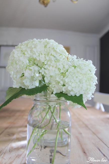 white hydrangea ball jar
