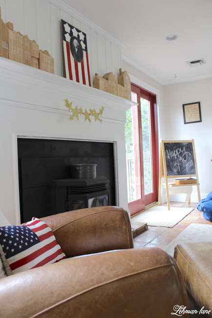 farmhouse summer tour fireplace mantel 4th of july