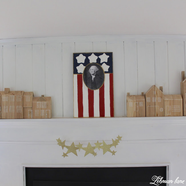 farmhouse summer tour family room patriotic fireplace mantel