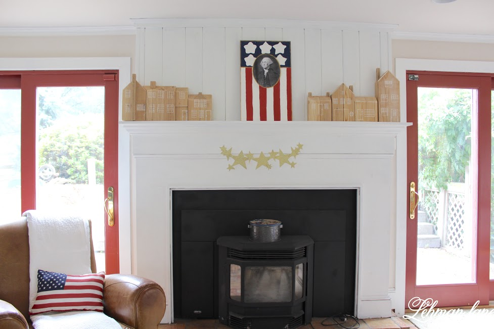 farmhouse summer tour fireplace patriotic mantel