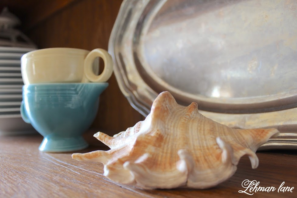 Shells make the prfect summer decorating accessory, especially in the summer! Come see how I use them to decorate our farmhouse! farmhouse summer tour shell