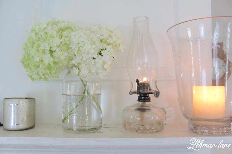 farmhouse summer tour fireplace mantel decor - oil lnatern,ball jar with hydrangea