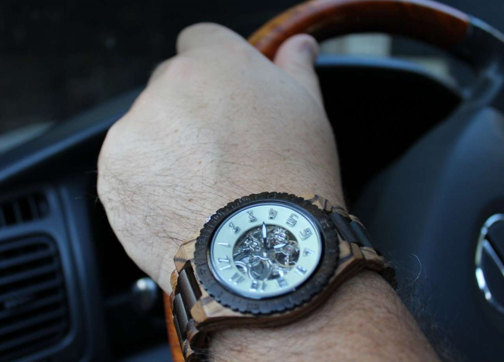 Jord Dover Zebrawood and Sandalwood Men's Watch in car #lehmanlane