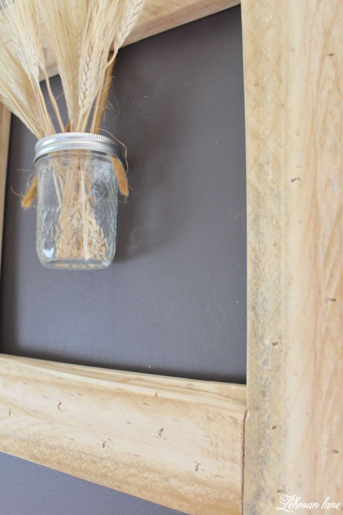 DIY - Square Pallet Picture Frame Wreath - ball jar with wheat
