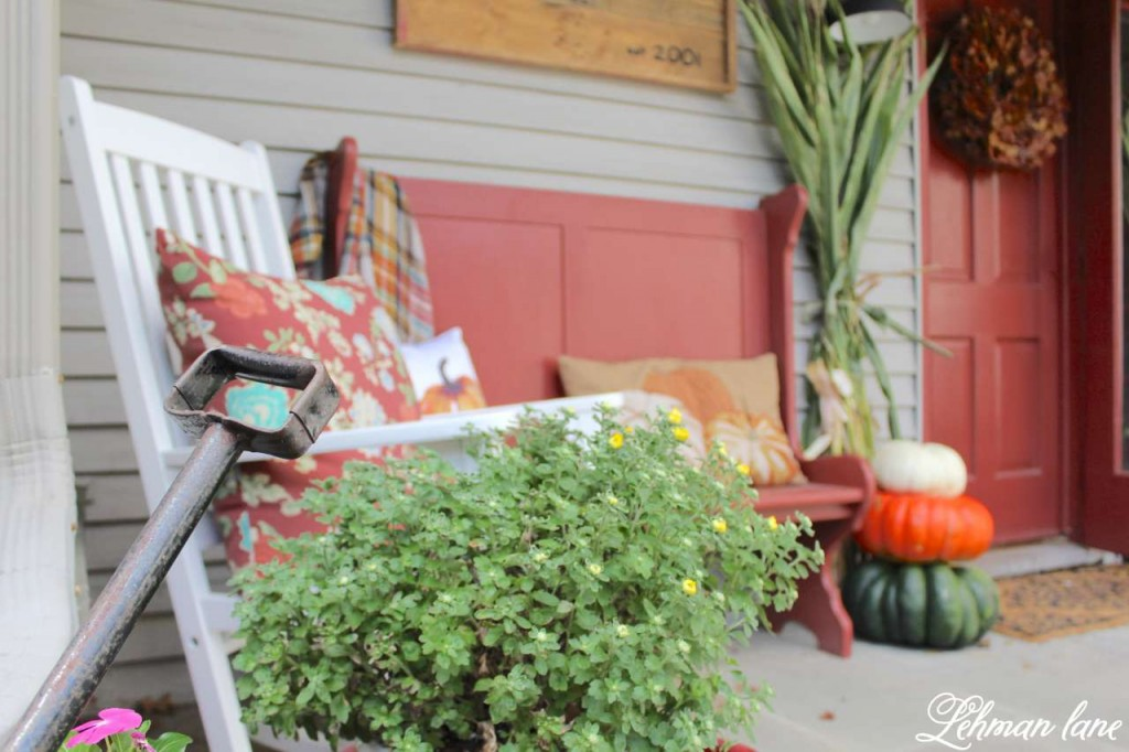 Fall Front Porch - red bench, mums and rocker