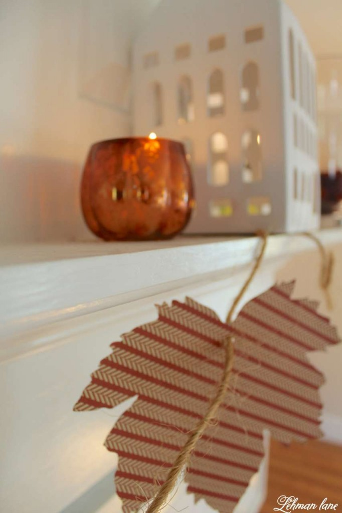 Fall leaf garland DIY and fall mantel