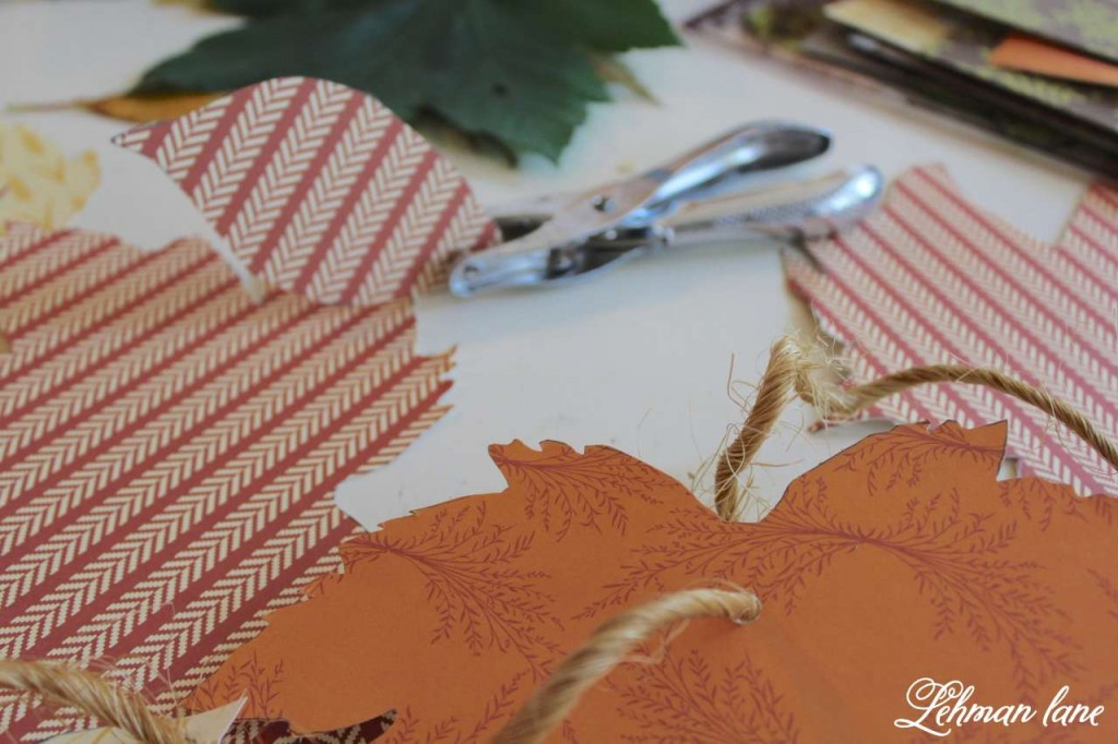 cut cardstock leaves through burlap