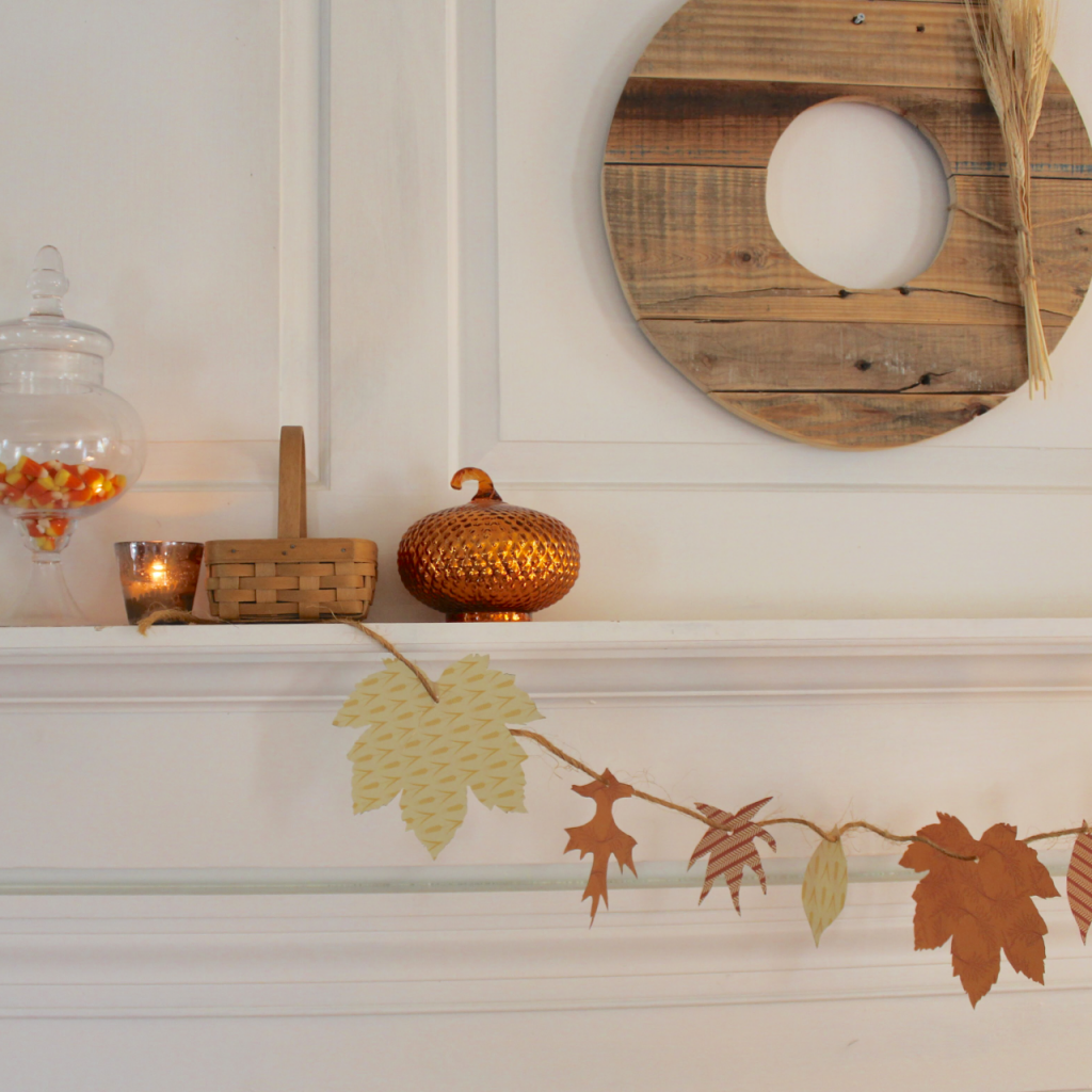 Falll Garland Diy and simple fall mantel decor