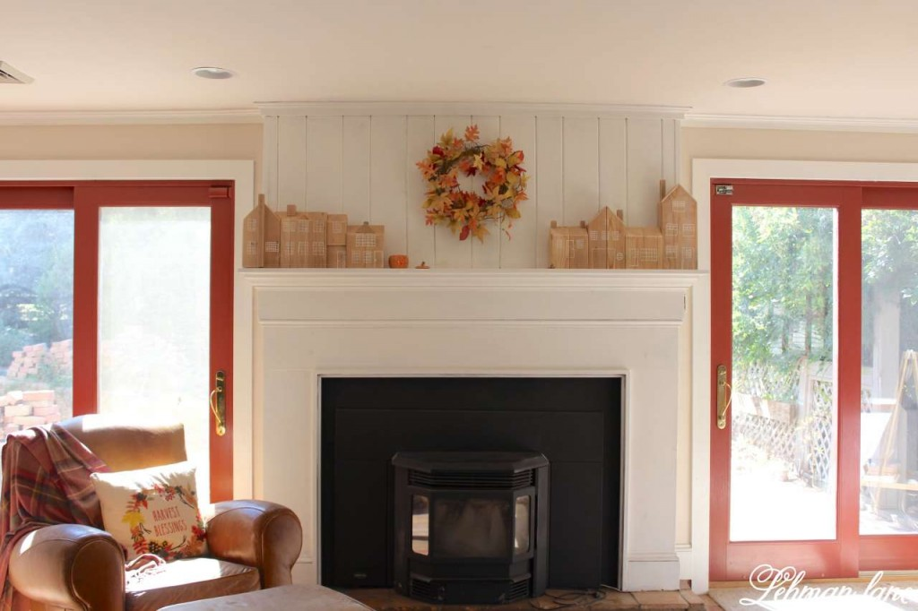 Stop by to see how we decorate our farmhouse for fall - family room fireplace mantel