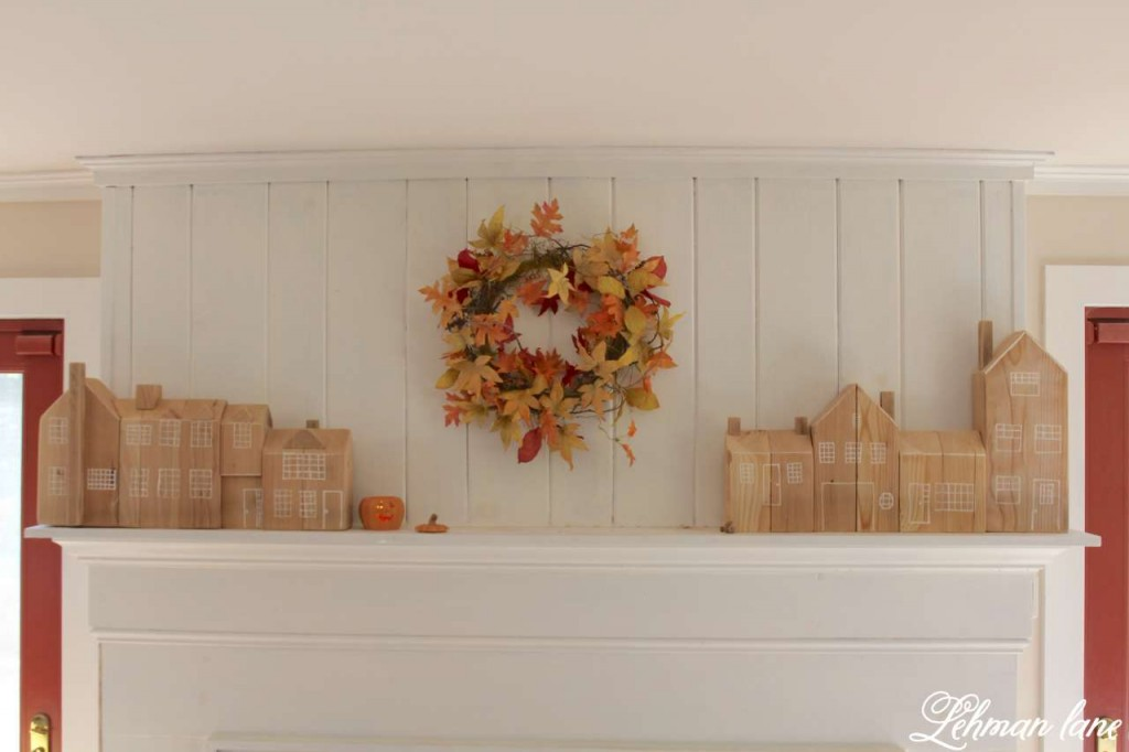 Stop by to see how we decorate our farmhouse for fall - family room fireplace mantel and cedar post houses fall leaf wreath