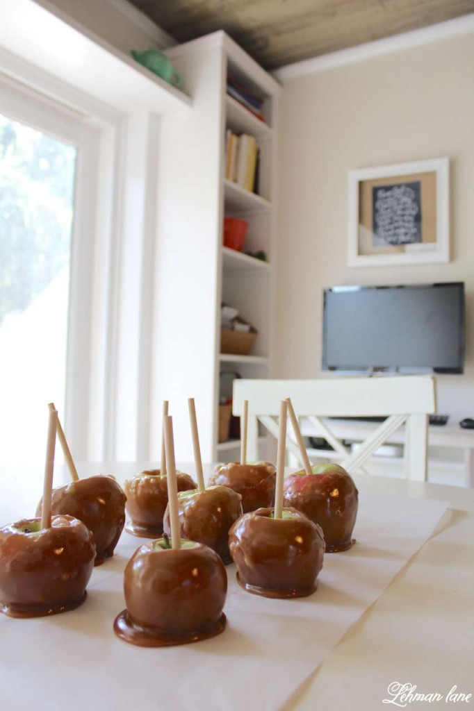Stop by to see how we decorate our farmhouse for fall - caramel apples on kitchen table