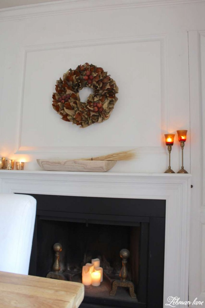 Stop by to see how we decorate our farmhouse for fall - dining room mantel