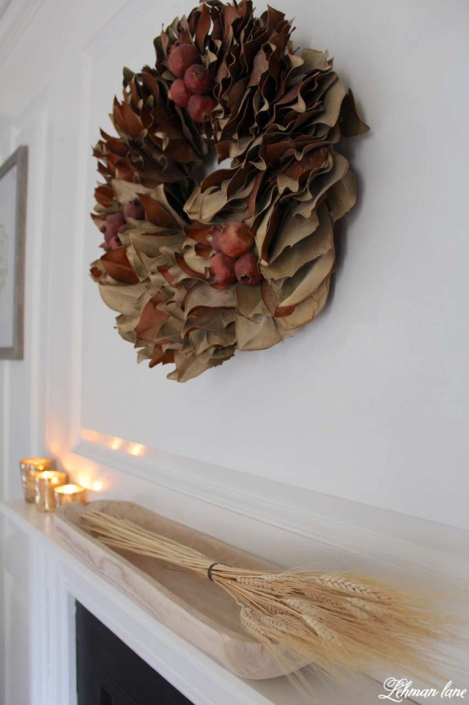 Stop by to see how we decorate our farmhouse for fall - magnolia wreath, wheat in wood bowl