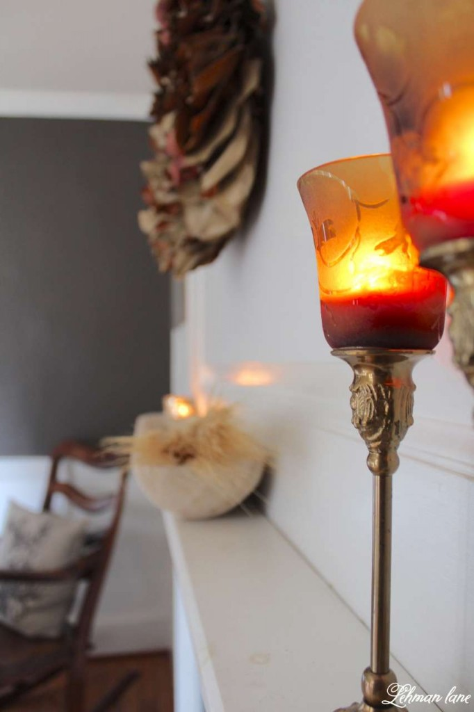 Stop by to see how we decorate our farmhouse for fall - dining room fireplace mantel candles