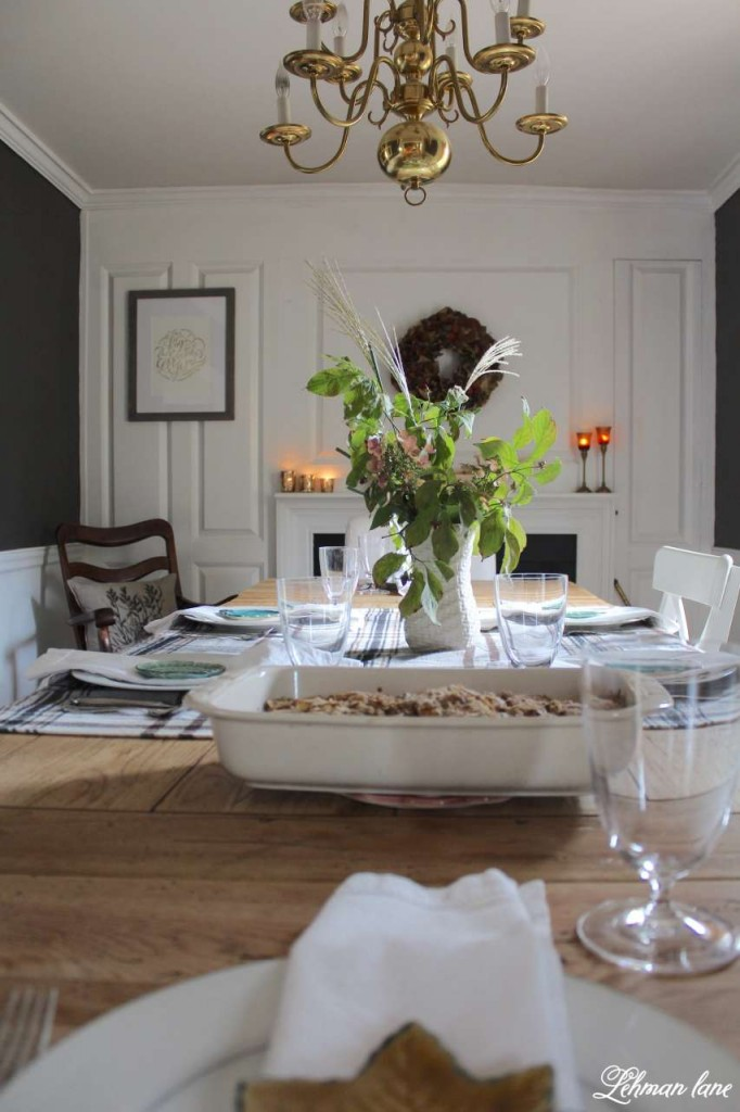 Stop by to see how we decorate our farmhouse for fall - dining room table set for fall