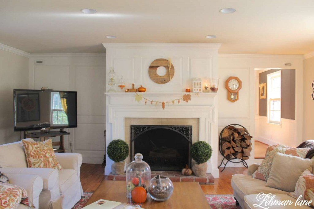 Stop by to see how we decorate our farmhouse for fall - living room fireplace mantel