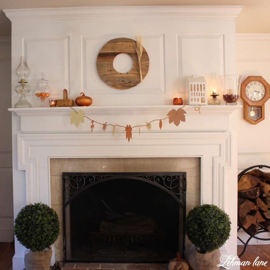 Stop by to see how we decorate our farmhouse for fall - living room mantel