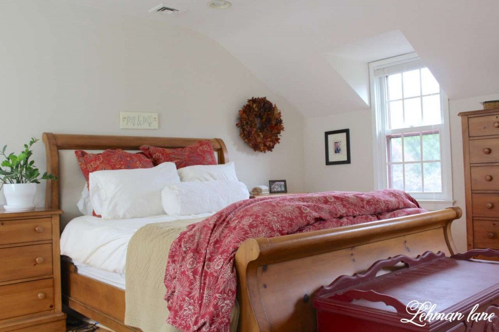 Stop by to see how we decorate our farmhouse for fall - master bedroom - bed
