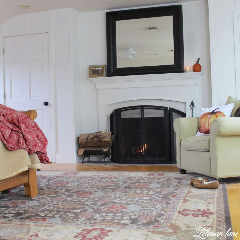 Stop by to see how we decorate our farmhouse for fall - master bedroom fireplace