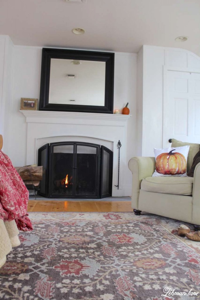 Stop by to see how we decorate our farmhouse for fall - master bedroom fireplace mantel