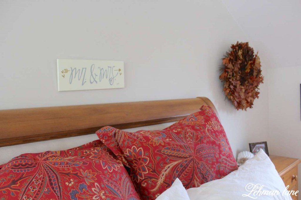 Stop by to see how we decorate our farmhouse for fall - master bedroom head board