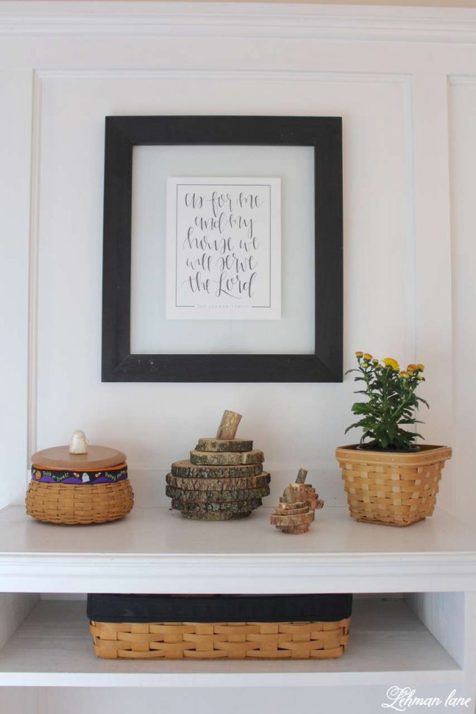 Stop by to see how we decorate our farmhouse for fall - entryway table with wood round pumpkins