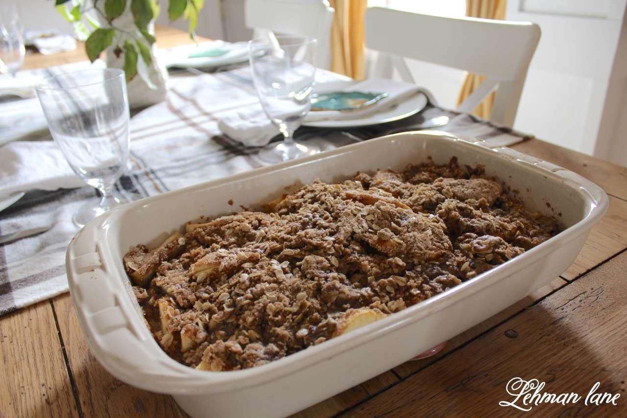 Homemade Apple Crisp Recipe on Fall Dining Table